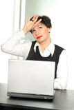 Tired business woman. Beautifull business woman tired at work royalty free stock photo