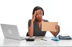 Tired business woman. royalty free stock images