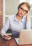Tired business woman Royalty Free Stock Images