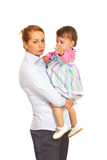 Tired business woman being mom Royalty Free Stock Photo
