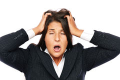 Tired business woman Stock Image