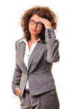 Tired business woman looking up Royalty Free Stock Photo