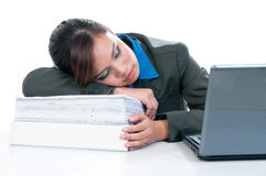 Tired Business Woman Taking A Nap Stock Photography