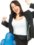 Tired Business Woman Yawning and Stretching Stock Photography