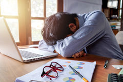 Tired businessman having long working day royalty free stock photo
