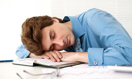 Tired Businessman Sleeping Stock Photo