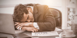 Tired businessman sleeping Royalty Free Stock Photo