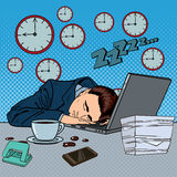 Tired Businessman Sleeping on a Laptop in Office. Pop Art Royalty Free Stock Photography