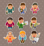 Tired businessman stickers Royalty Free Stock Photography