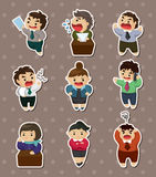 Tired businessman stickers royalty free illustration