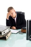 Tired businessman at work place Royalty Free Stock Photography