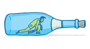 Tired businessman or workaholic crawling in wine bottle Stock Photo