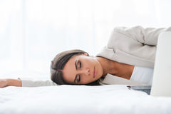 Tired businesswoman. Royalty Free Stock Photo