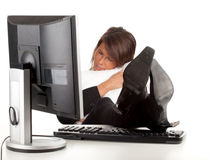 Tired businesswoman with comput Royalty Free Stock Photo