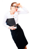 Tired businesswoman has a headache. Stock Photo