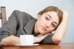 Tired businesswoman looking stock images