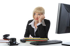Tired businesswoman in the office. Royalty Free Stock Photo