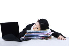 Tired businesswoman at office isolated 1 Stock Photography