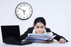 Tired businesswoman overworked Royalty Free Stock Photo