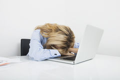 Tired businesswoman resting head on laptop at office desk Royalty Free Stock Photos