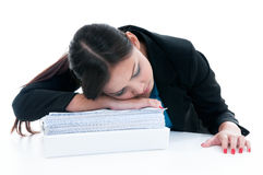 Tired Businesswoman Sleeping Stock Photos