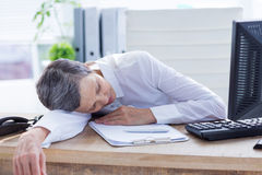 Tired businesswoman sleeping at her desk Stock Images
