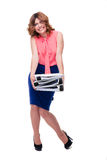 Tired businesswoman standing with folders Stock Photography