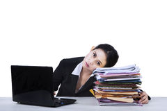Tired businesswoman take a rest Royalty Free Stock Photos