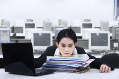 Tired businesswoman take a rest on documents Royalty Free Stock Photo