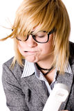 Tired Businesswoman With Phone Stock Image