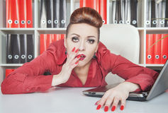 Tired businesswoman working in office. Overwork concept Stock Photos
