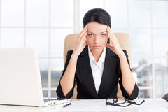 Tired businesswoman. Royalty Free Stock Photos