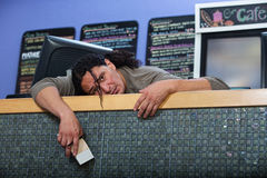 Tired Cafe Owner Stock Photo