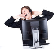 Tired call center girl Stock Photography