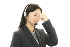 Tired call center operator Stock Images