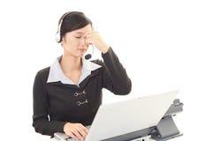 Tired call center operator Royalty Free Stock Photos