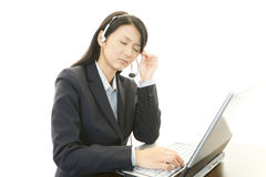 Tired call center operator Stock Photos