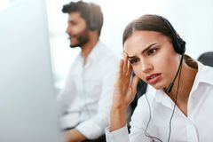 Tired Call Center Operator At Workplace Stock Images