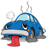 Tired car. Cartoon of an exhausted car Royalty Free Stock Photo