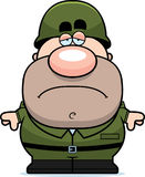 Tired Cartoon Soldier Royalty Free Stock Photos