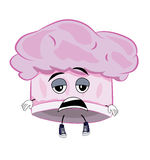 Tired chef hat cartoon Stock Image