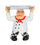 Tired Chef with Serving Tray. A tired Italian man chef with serving tray Royalty Free Stock Images