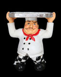 Tired Chef with Serving Tray. A tired Italian man chef with serving tray isolated on black Stock Image