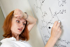 Tired chemist student Royalty Free Stock Images