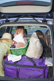 The tired child in the car Stock Image