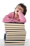 Tired child student Royalty Free Stock Photography
