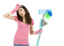 Tired cleaning woman Royalty Free Stock Photography