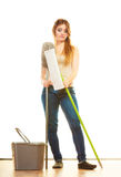 Tired cleaning woman mopping floor. Cleanup housework concept. Tired cleaning lady young woman mopping floor, holding two mops new and old white background Stock Photo