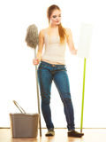 Tired cleaning woman mopping floor Royalty Free Stock Images