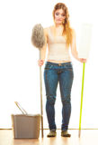 Tired cleaning woman mopping floor Royalty Free Stock Image